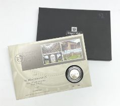 Royal Mail silver proof coin cover 'In Remembrance Peacehaven 15.8.2020' housing a 2020 silver proof