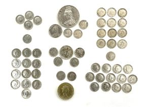 Mostly Great British coins including Queen Victoria 1890 crown and 1890 shilling