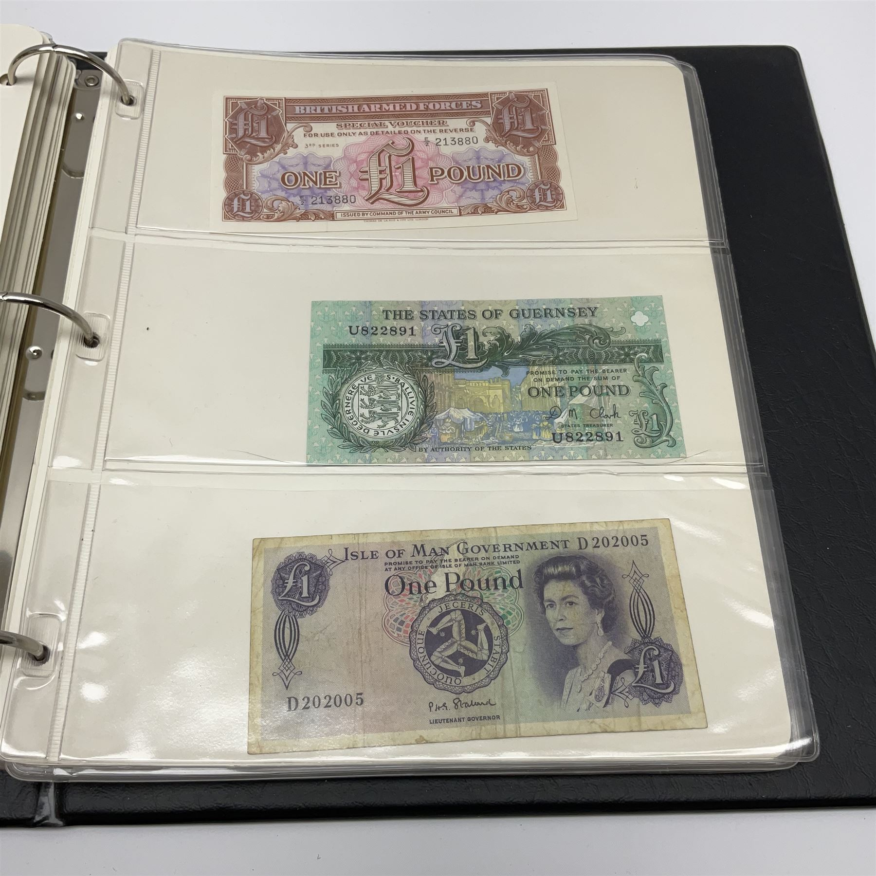 Album of mostly Great British banknotes including Peppiatt emergency issue one pound 'E57E' - Image 4 of 19