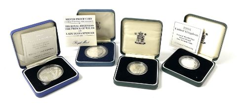 Four United Kingdom silver proof coins