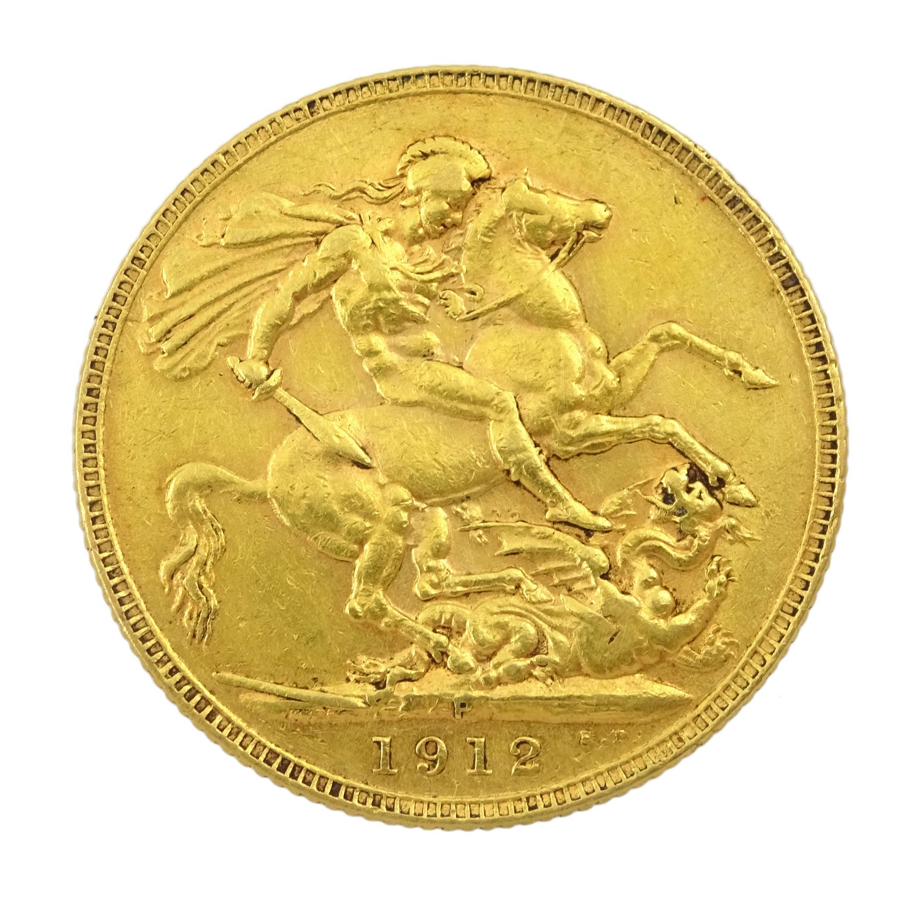 King George V 1912 gold full sovereign coin - Image 2 of 2