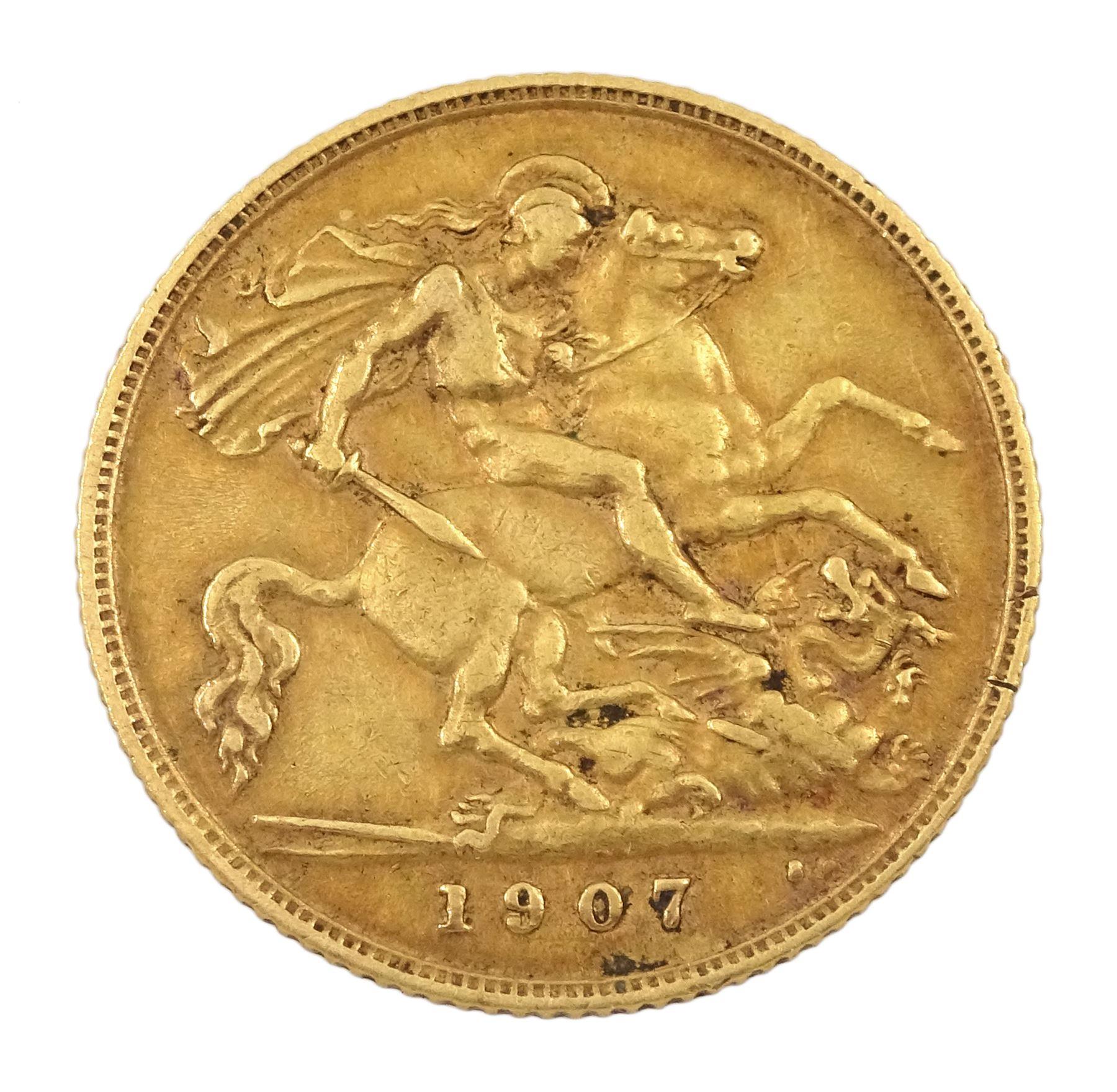 King Edward VII 1907 gold half sovereign coin - Image 2 of 2