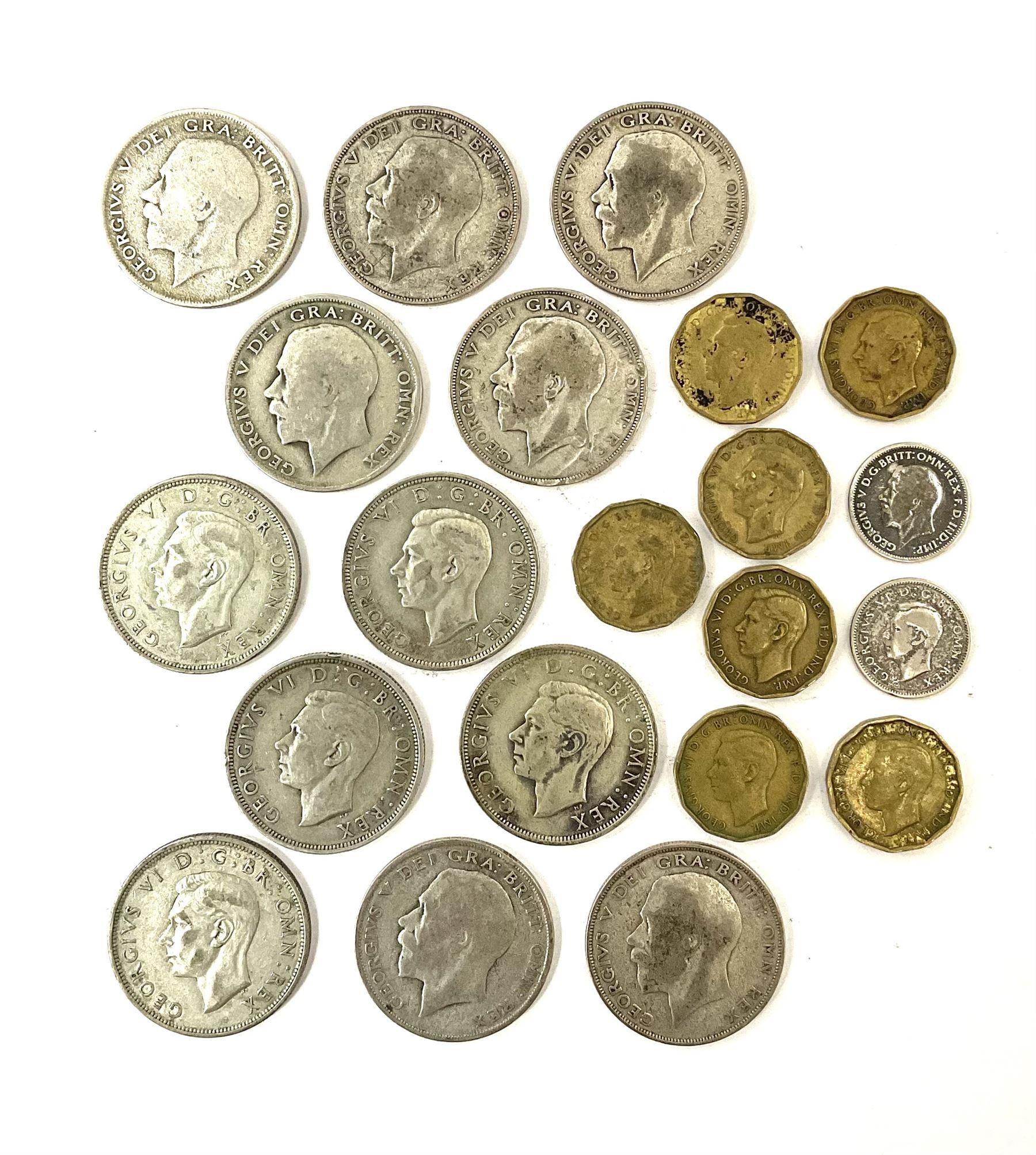 Twelve pre-1947 silver half crown coins