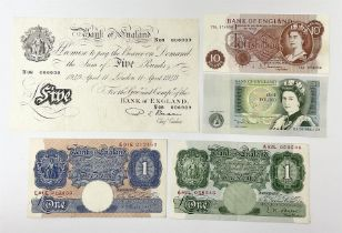 Bank of England Beale white five pound note 'N08' 'London 11 April 1949'