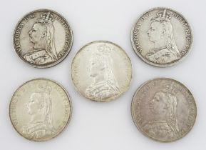 Five Queen Victoria crown coins