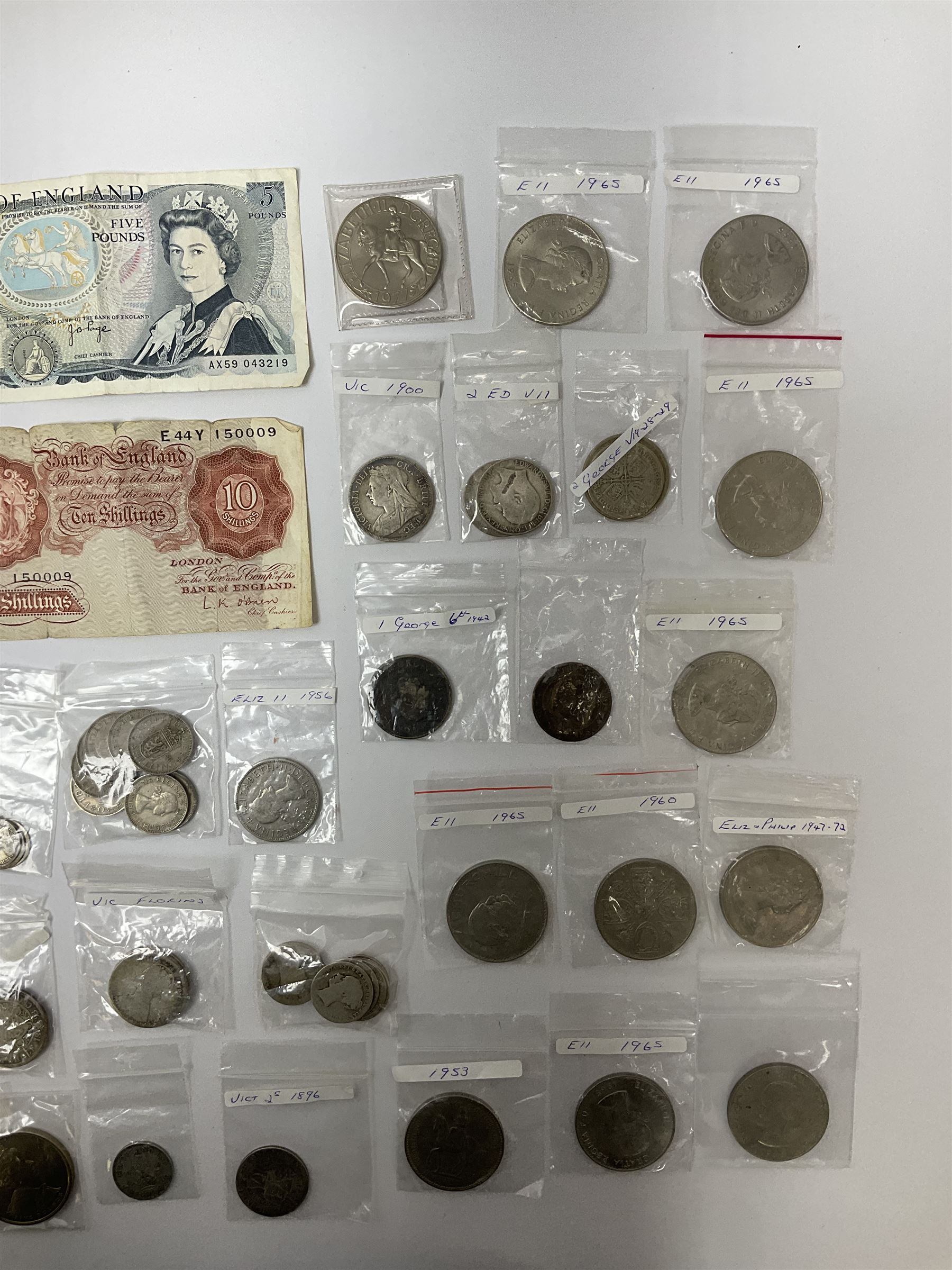 Mostly Great British coins and banknotes including Queen Victoria Gothic florins - Image 3 of 3