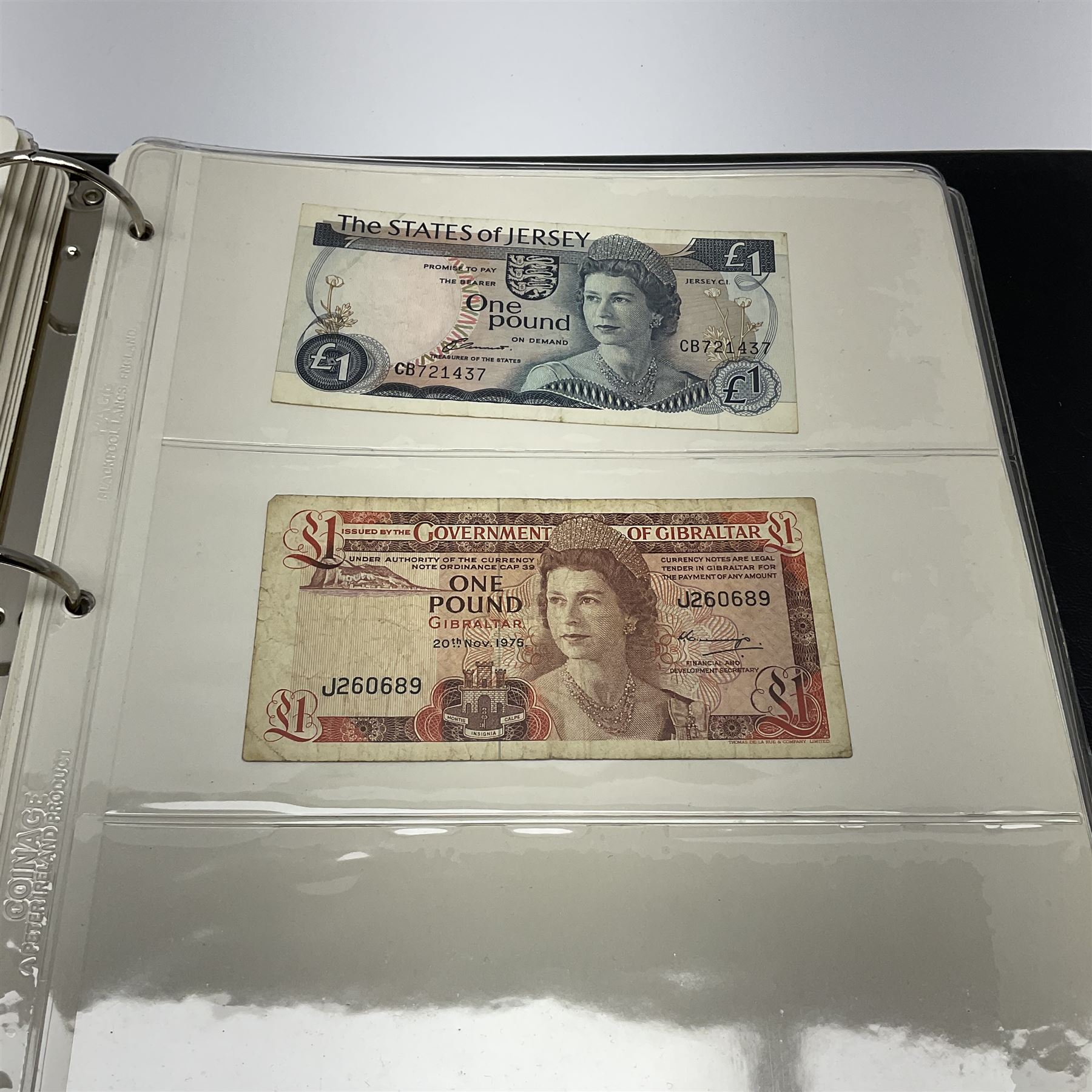 Album of mostly Great British banknotes including Peppiatt emergency issue one pound 'E57E' - Image 3 of 19