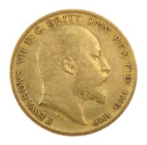 King Edward VII 1908 gold half sovereign coin