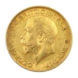King George V 1911 gold full sovereign coin