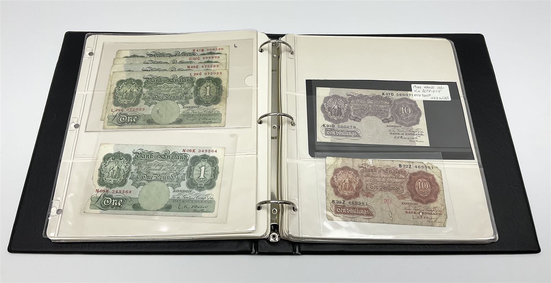 Album of mostly Great British banknotes including Peppiatt emergency issue one pound 'E57E'