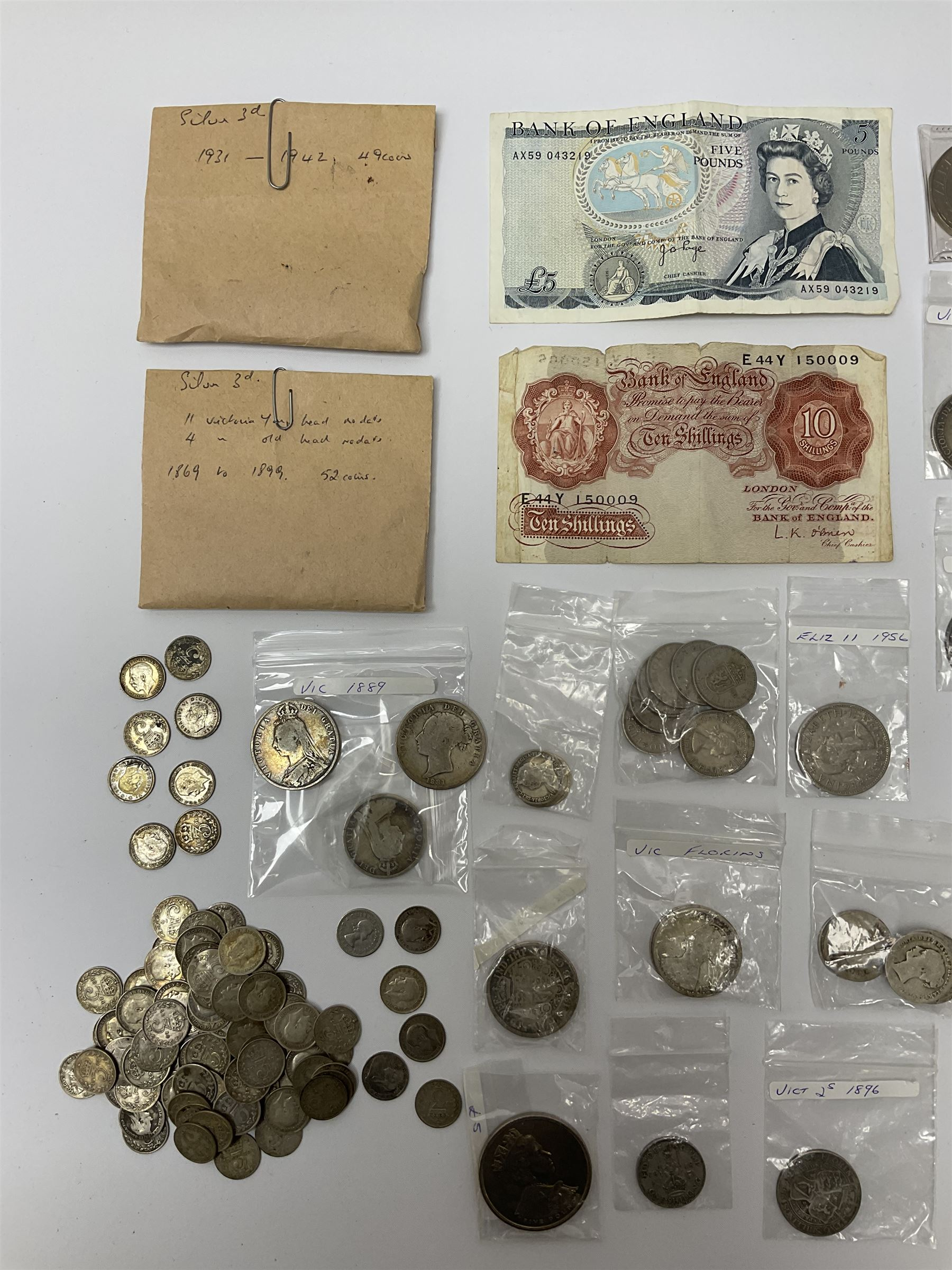Mostly Great British coins and banknotes including Queen Victoria Gothic florins - Image 2 of 3