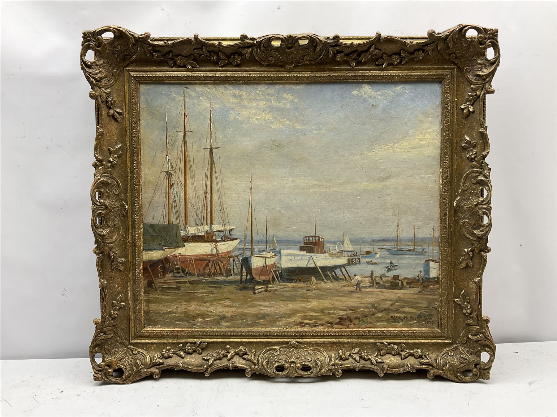 Alex H Kirk (British 1881-1950): Boat Maintenance on the Banks of an Estuary - Image 2 of 4