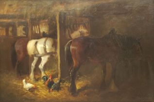 John Atkinson (Staithes Group 1863-1924): Horses and Chickens in a Stable