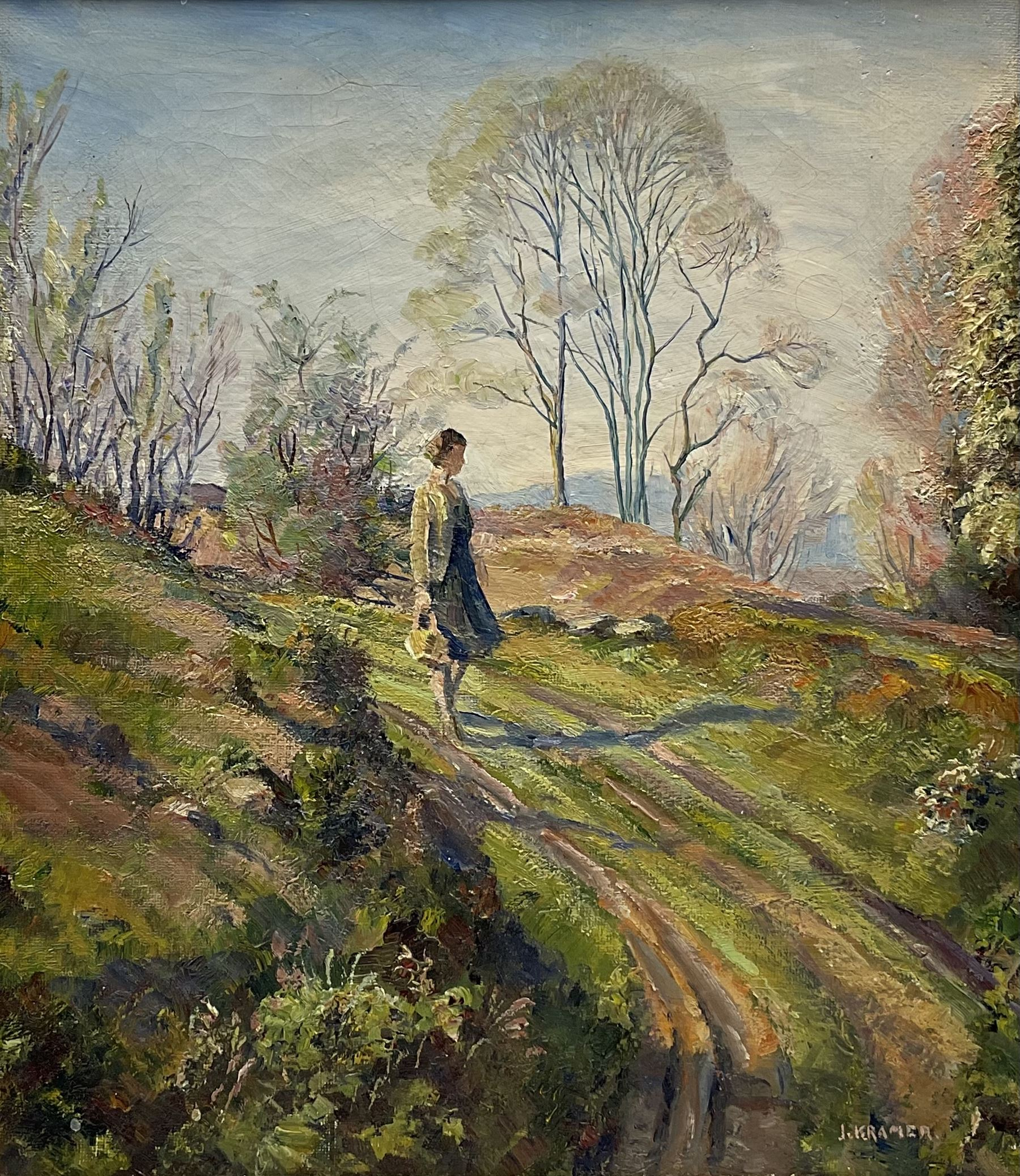 Jacob Kramer (British 1892-1962): Young Woman on a Country Path