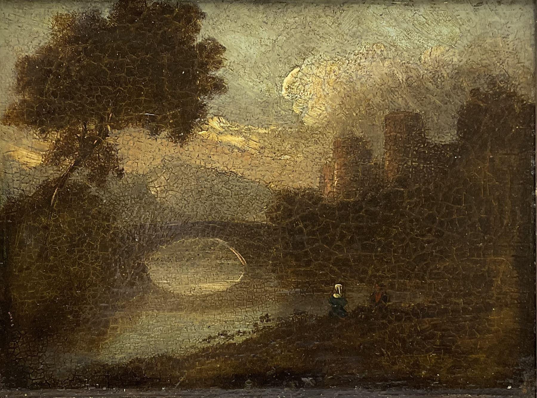 English School (19th century): River scene with Bridge and Castle