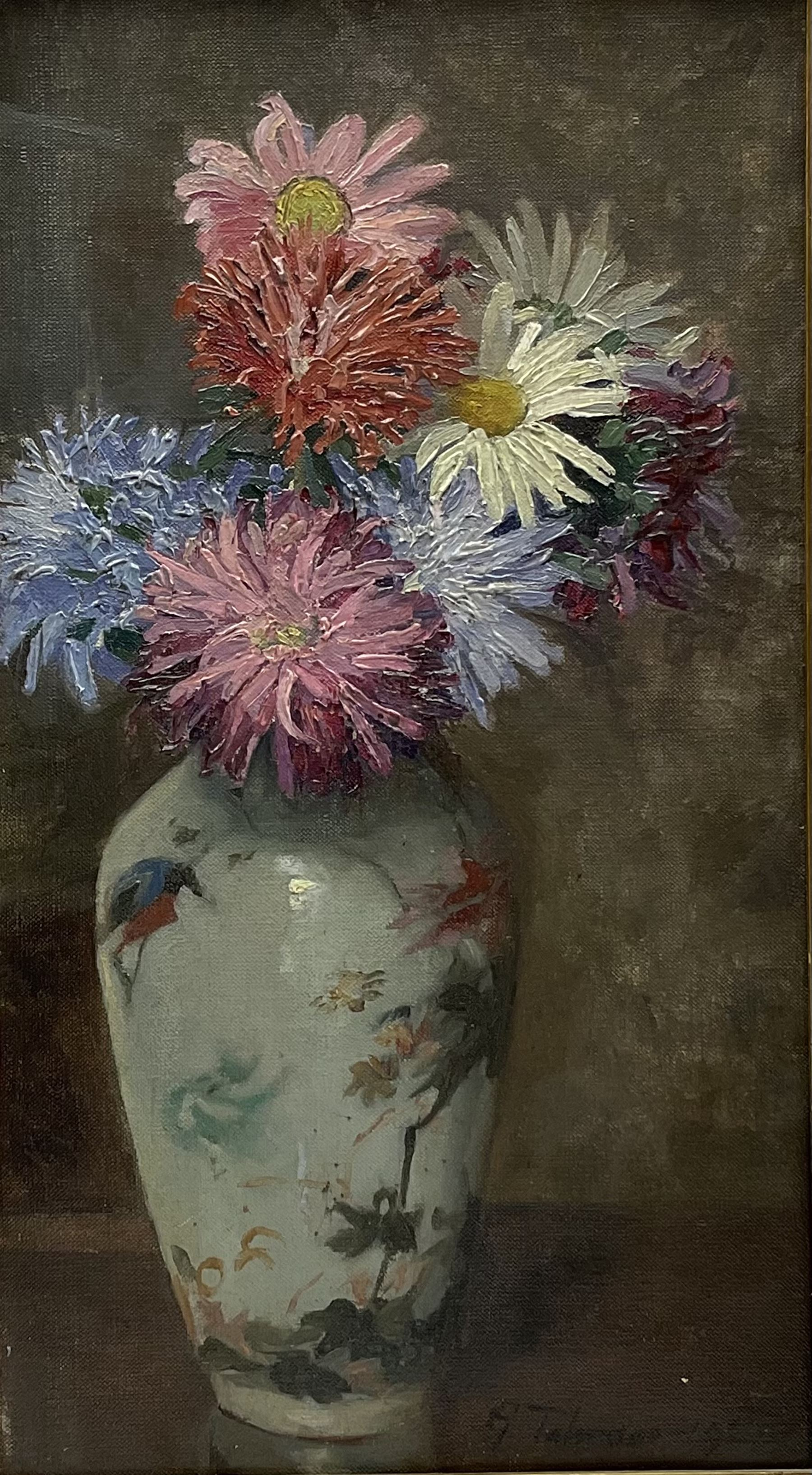 Gertrude Talmage (née Rowe) (St Ives School 1866-1941): Still Life of Flowers in a Chinese Vase