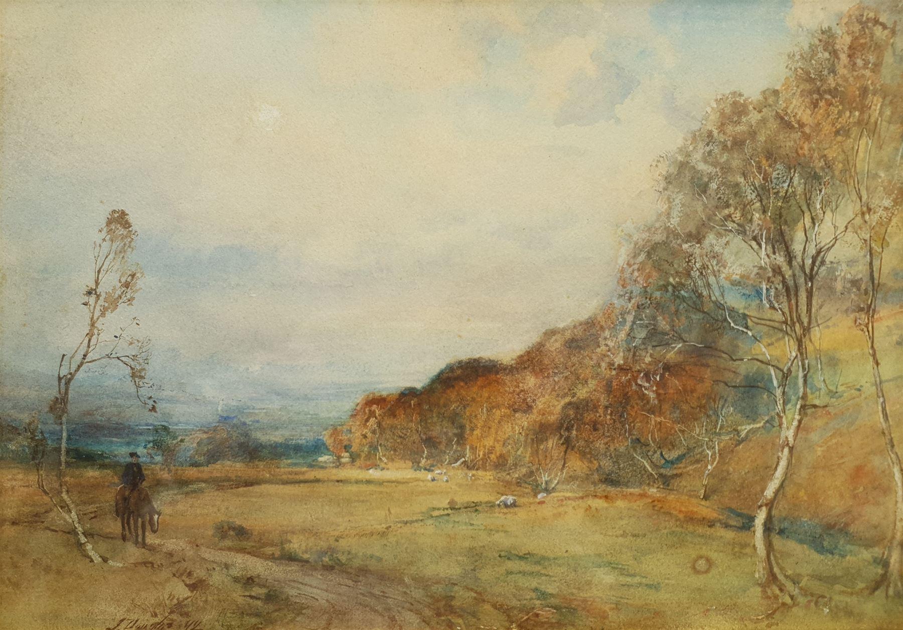James Douglas (Scottish 1858-1911): Landscape with Sheep and Rider on Horseback