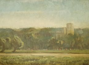 Paul Paul (Staithes Group 1865-1937): Castle with Cattle Grazing by the River