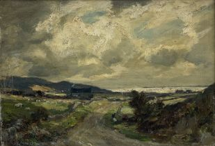 Owen Bowen (Staithes Group 1873-1967): Coastal Landscape under Heavy Sky