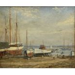 Alex H Kirk (British 1881-1950): Boat Maintenance on the Banks of an Estuary
