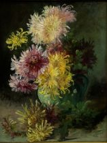 Eugene Petit (French 1839-1886): Still Life of Chrysanthemums