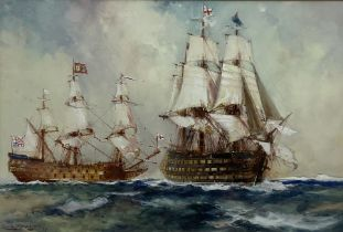 Frank Henry Mason (Staithes Group 1875-1965): British Men o' War in Full Sail