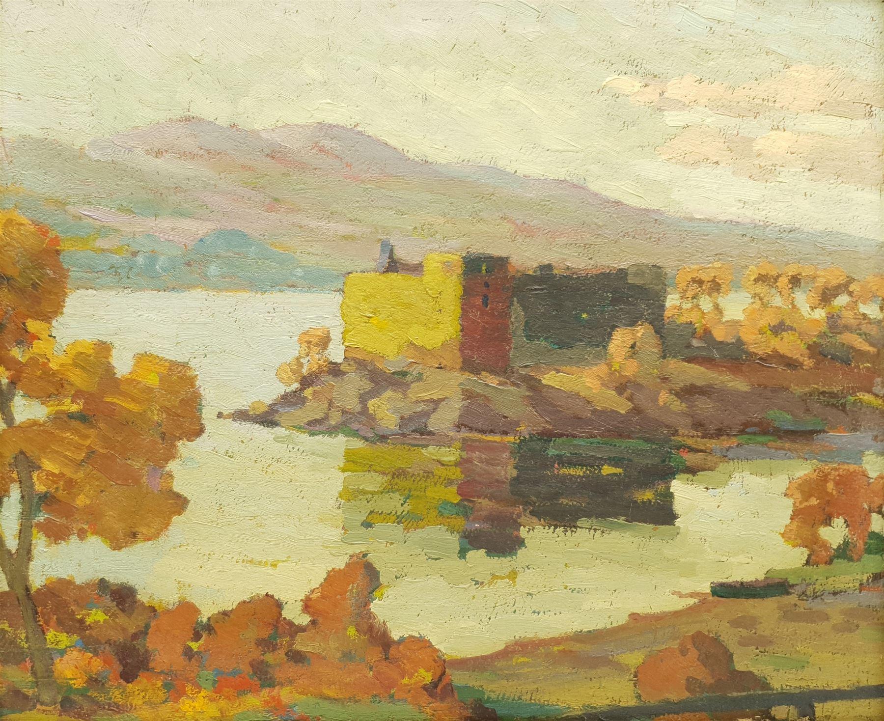 Scottish School (Early 20th century): Loch Scene with Peninsular Castle