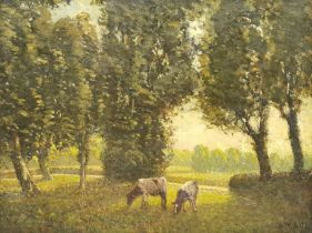 Paul Paul (Staithes Group 1865-1937): Cattle Grazing in Wooded Landscape