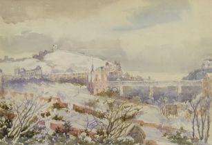 Richard Edward Clarke (British 1878-1954): 'View from Hillthorpe House Scarborough in Snow'