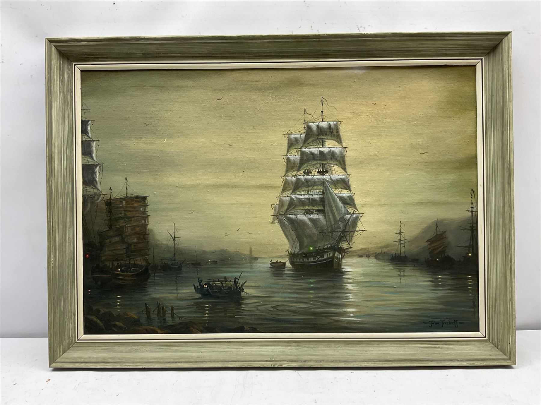 John Trickett (British 1952-): 'Evening Calm' - A Tea Clipper in the Anchorage Foochow - Image 2 of 4