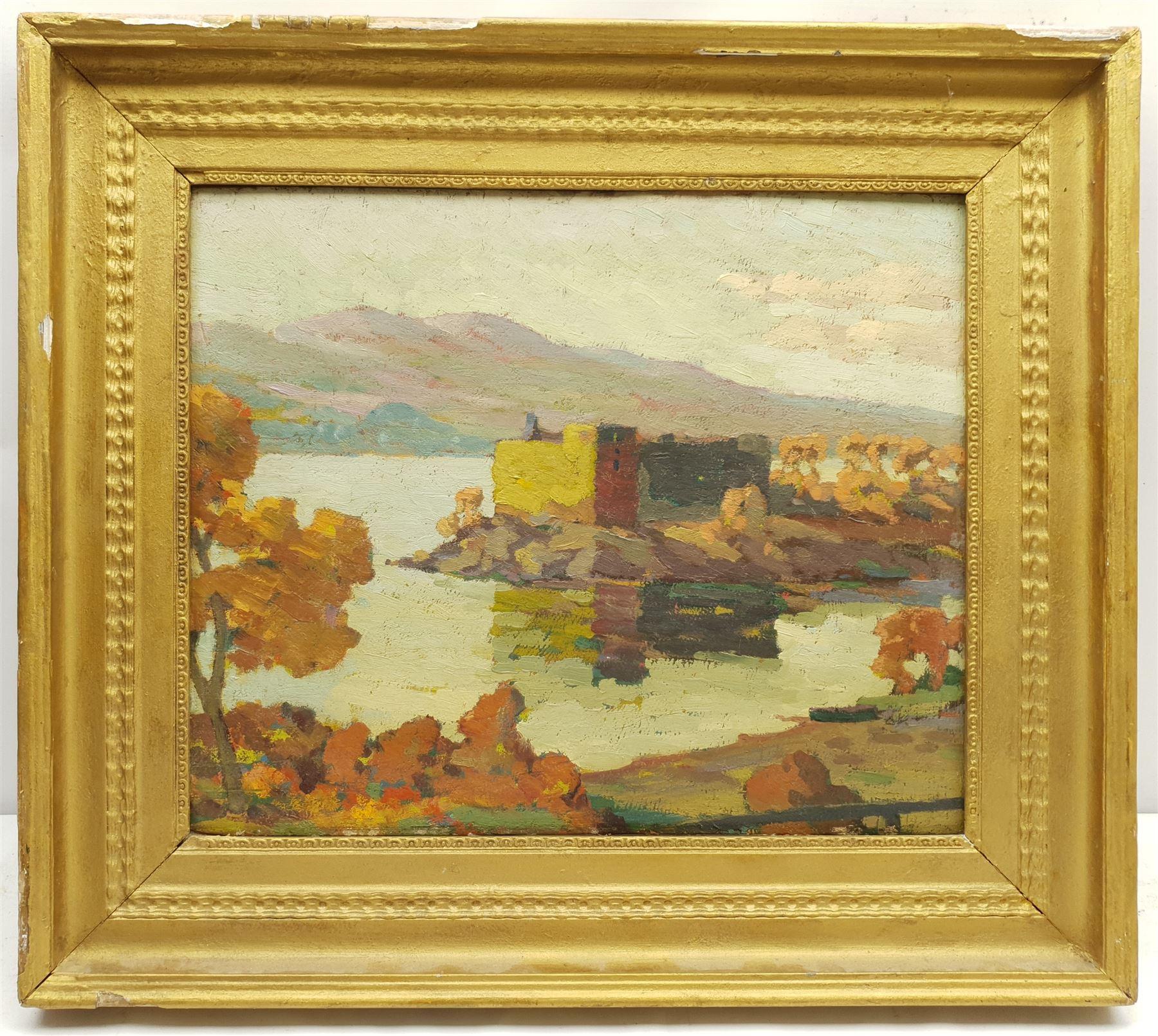 Scottish School (Early 20th century): Loch Scene with Peninsular Castle - Image 2 of 3