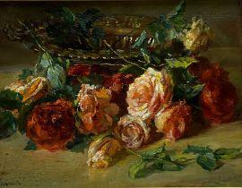 Catherine M Wood (British 1857-1939): Still Life of Roses