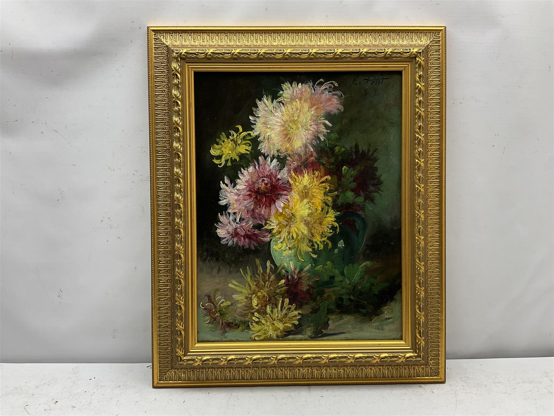 Eugene Petit (French 1839-1886): Still Life of Chrysanthemums - Image 2 of 4