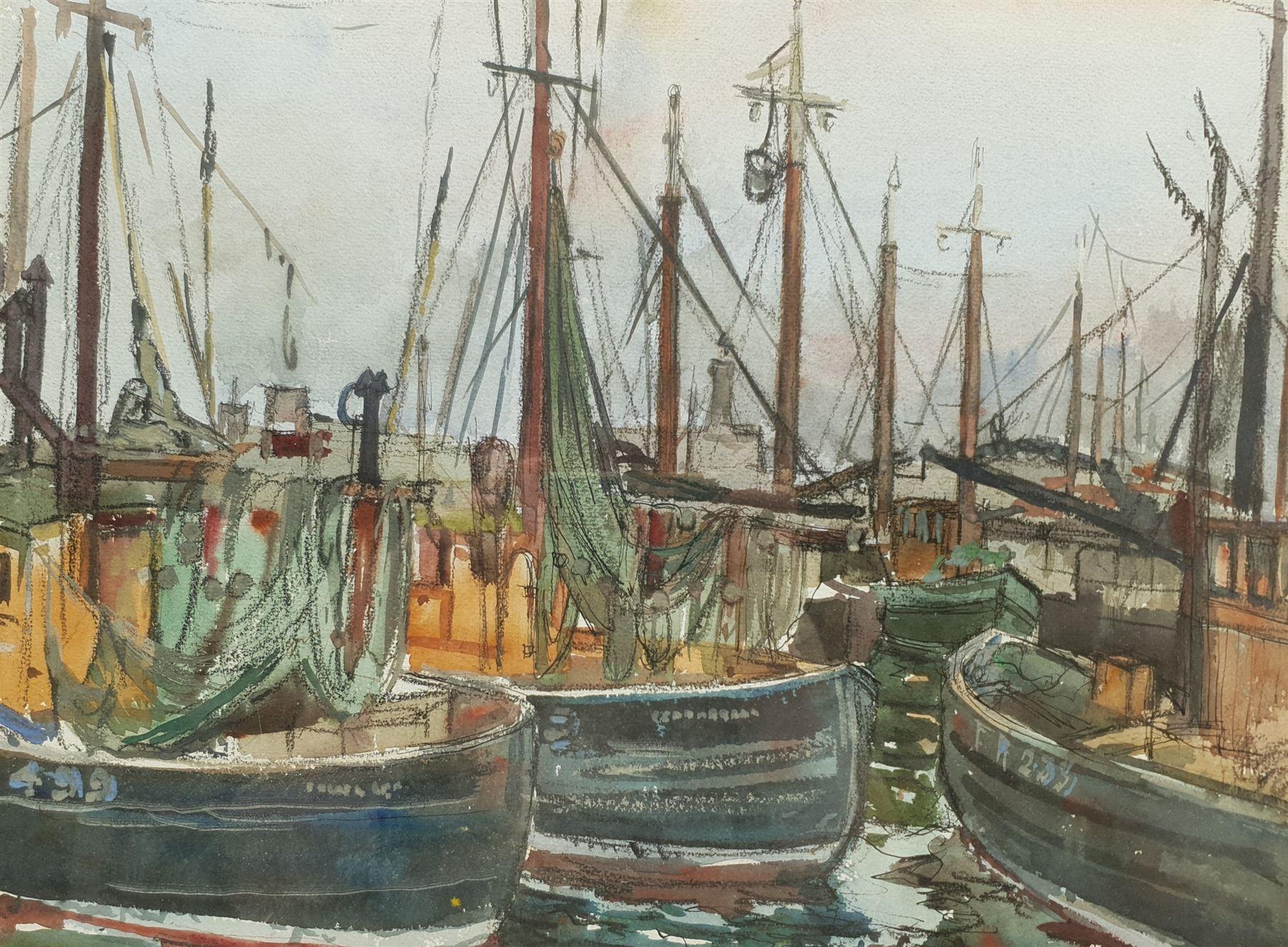 Robert Hardie Condie (Scottish 1898-1981): 'Masts and Nets Fraserburgh'