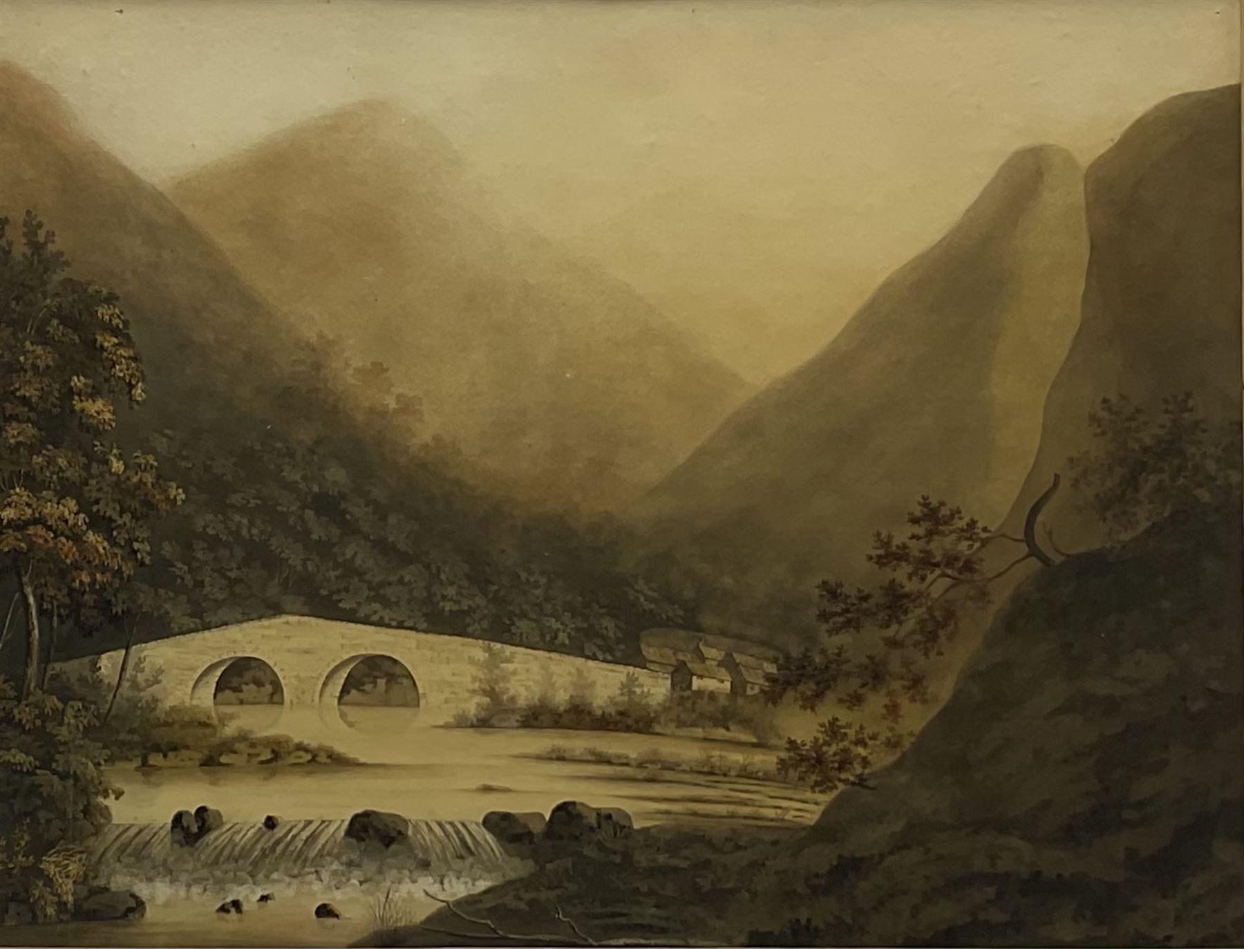 English School (Early 19th century): Lake District Stone Bridge