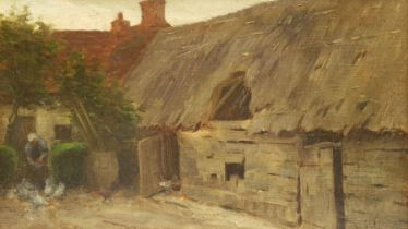 Paul Paul (Staithes Group 1865-1937): Feeding Chickens outside a Cottage
