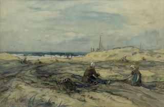 Frederick Stuart Richardson (Staithes Group 1855-1934): Mending Nets in the Dutch Sand Dunes