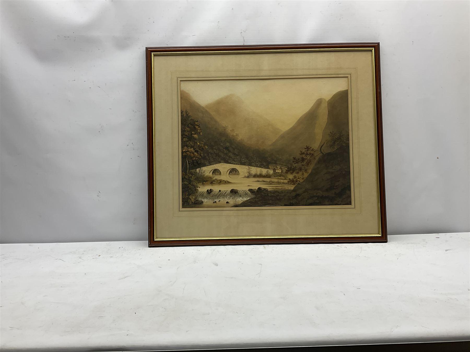 English School (Early 19th century): Lake District Stone Bridge - Image 3 of 3