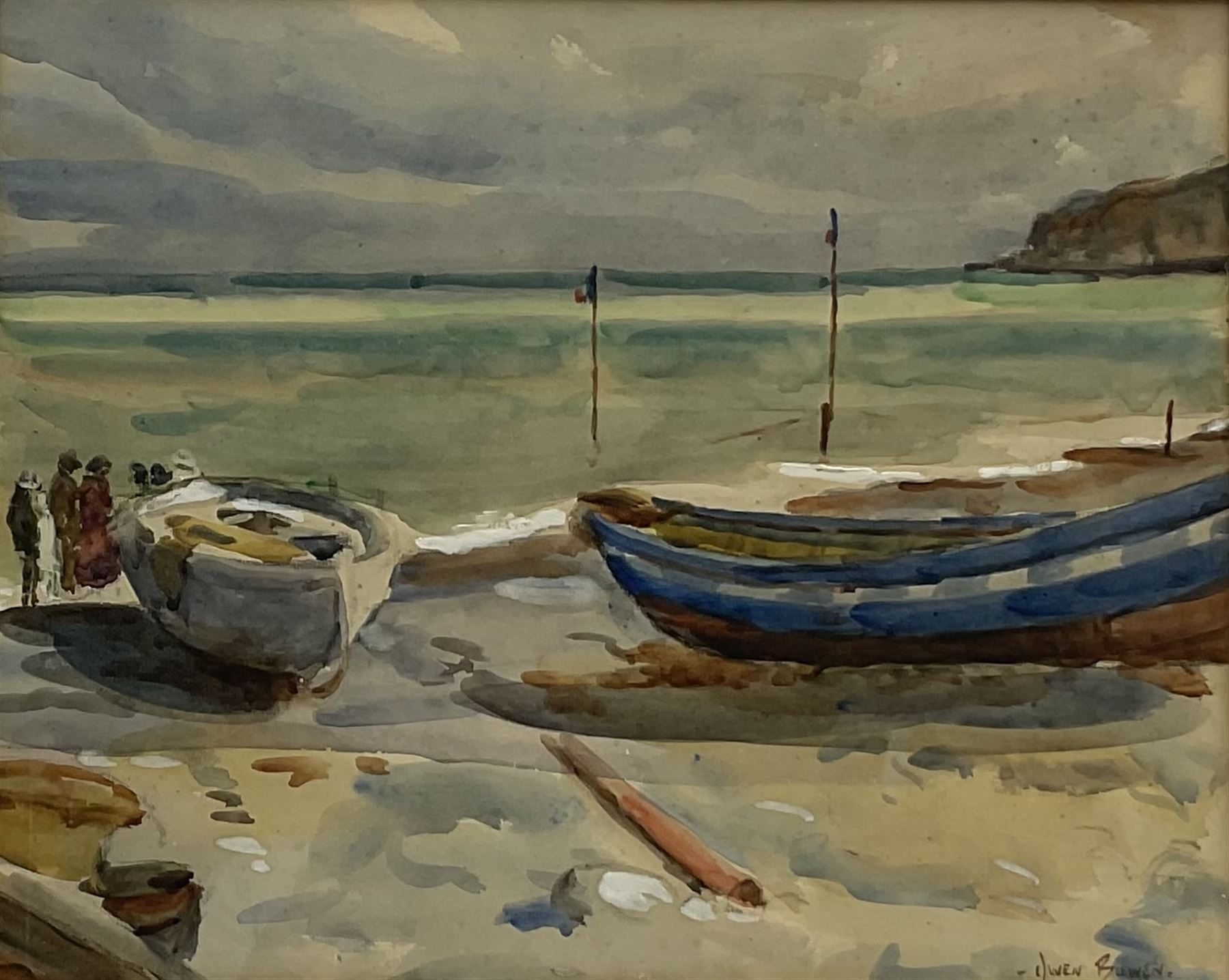 Owen Bowen (Staithes Group 1873-1967): Cobles on The Dock Robin Hoods Bay