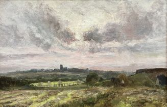 John Falconar Slater (British 1857-1937): Haytime looking towards Earsdon Church Northumberland