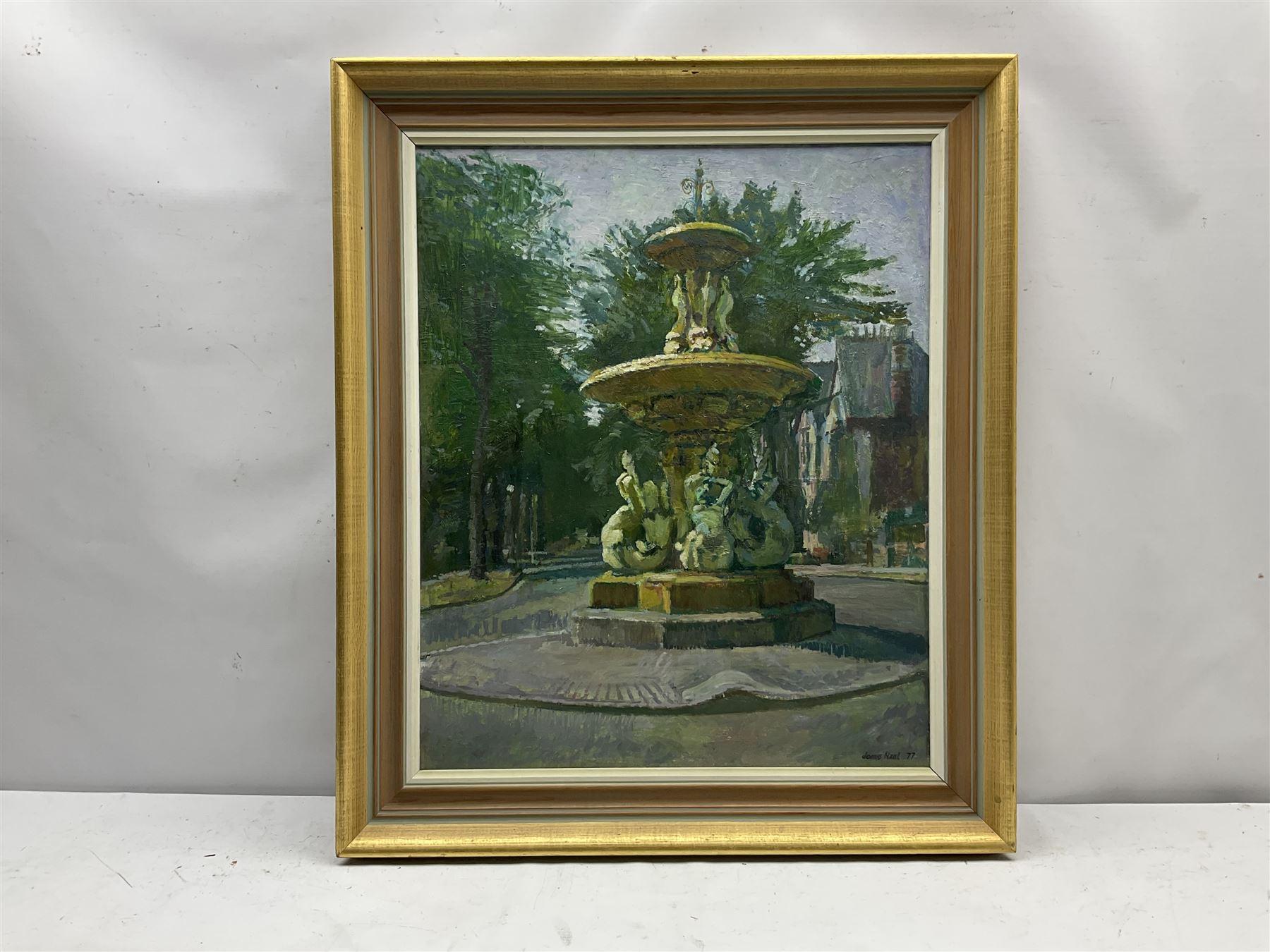 James Neal (Northern British 1918-2011): 'Fountain in Marlborough Avenue Hull' - Image 2 of 4