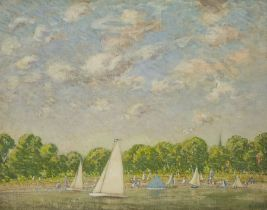 Paul Paul (Staithes Group 1865-1937): Pond Yachts in the Park