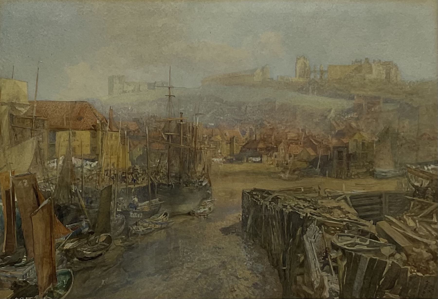 Alfred William Hunt (British 1830-1896): Dock End and the Angel Vaults Whitby at Low Tide