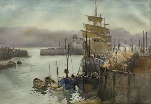 Harry Wanless (British c1872-1934): Sailing Vessels in Scarborough Harbour