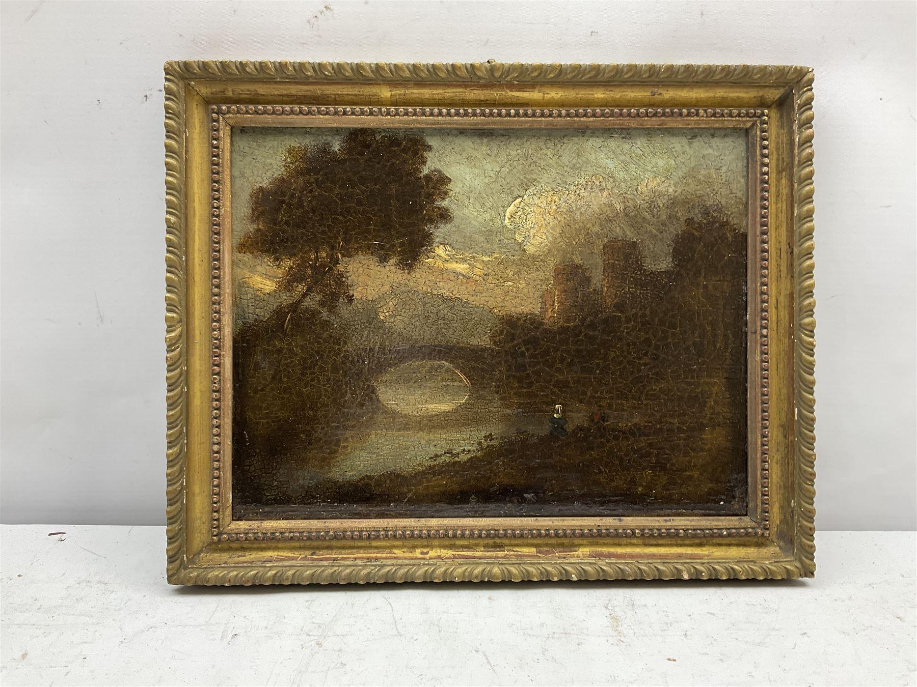 English School (19th century): River scene with Bridge and Castle - Image 2 of 3