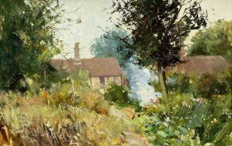English School (Mid 20th century): Bonfire in a Cottage Garden