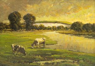 Paul Paul (Staithes Group 1865-1937): Cattle at Sunset
