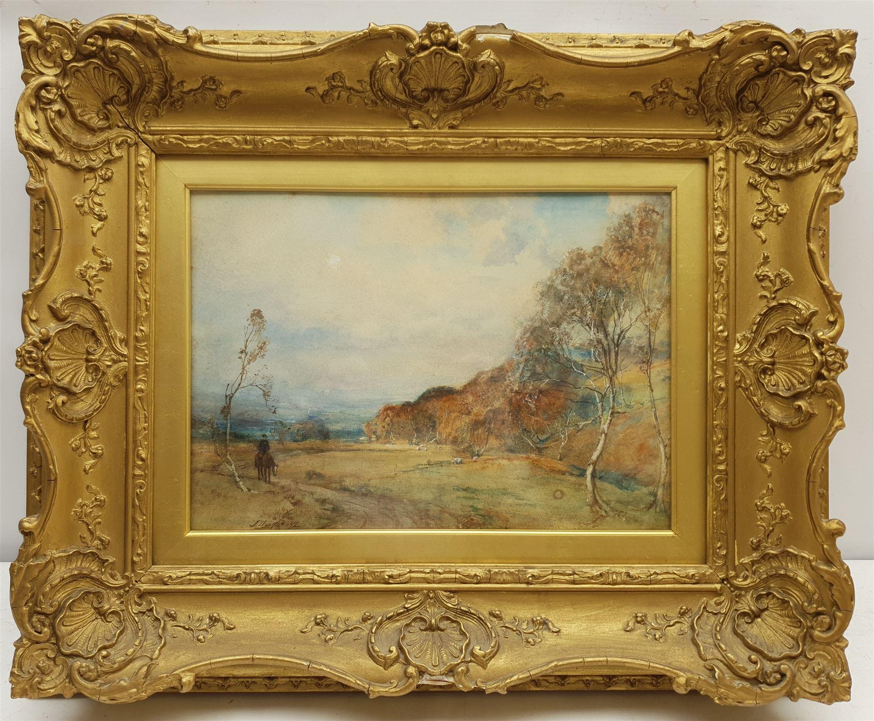 James Douglas (Scottish 1858-1911): Landscape with Sheep and Rider on Horseback - Image 2 of 4