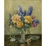 Owen Bowen (Staithes Group 1873-1967): Still Life - Flowers in a Glass Vase