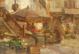 Paul Paul (Staithes Group 1865-1937): Market Stalls